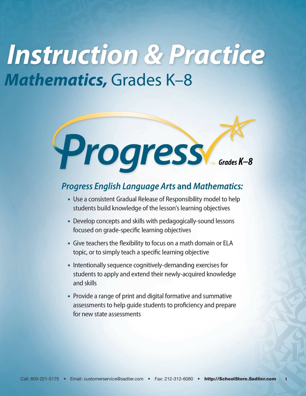 Progress-Mathematics-Grade 1 Student Edition Sample