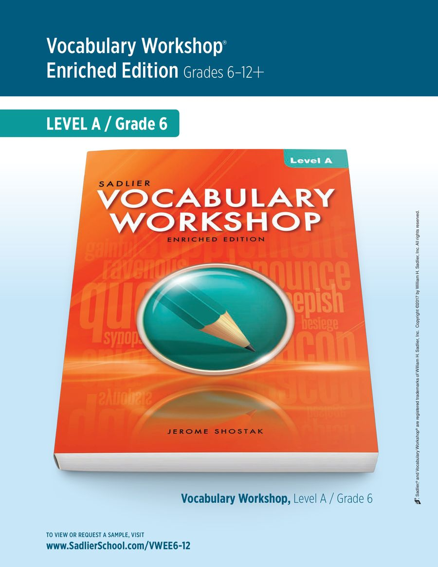 Vocabulary Workshop Enriched Edition, Level A (Grade 6), Student Edition