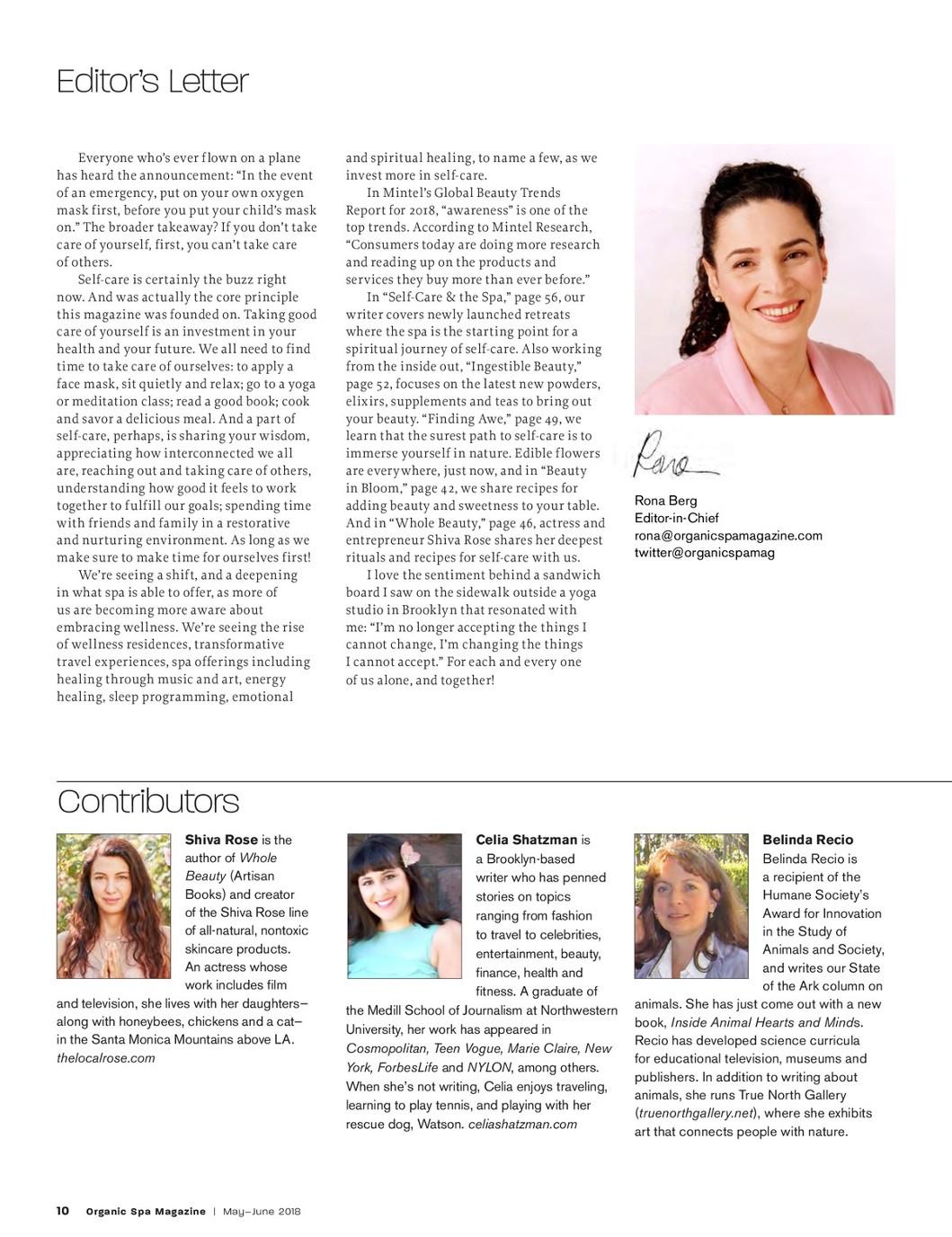 Organic Spa Magazine   June 2018   Inner Beauty & Self-Care