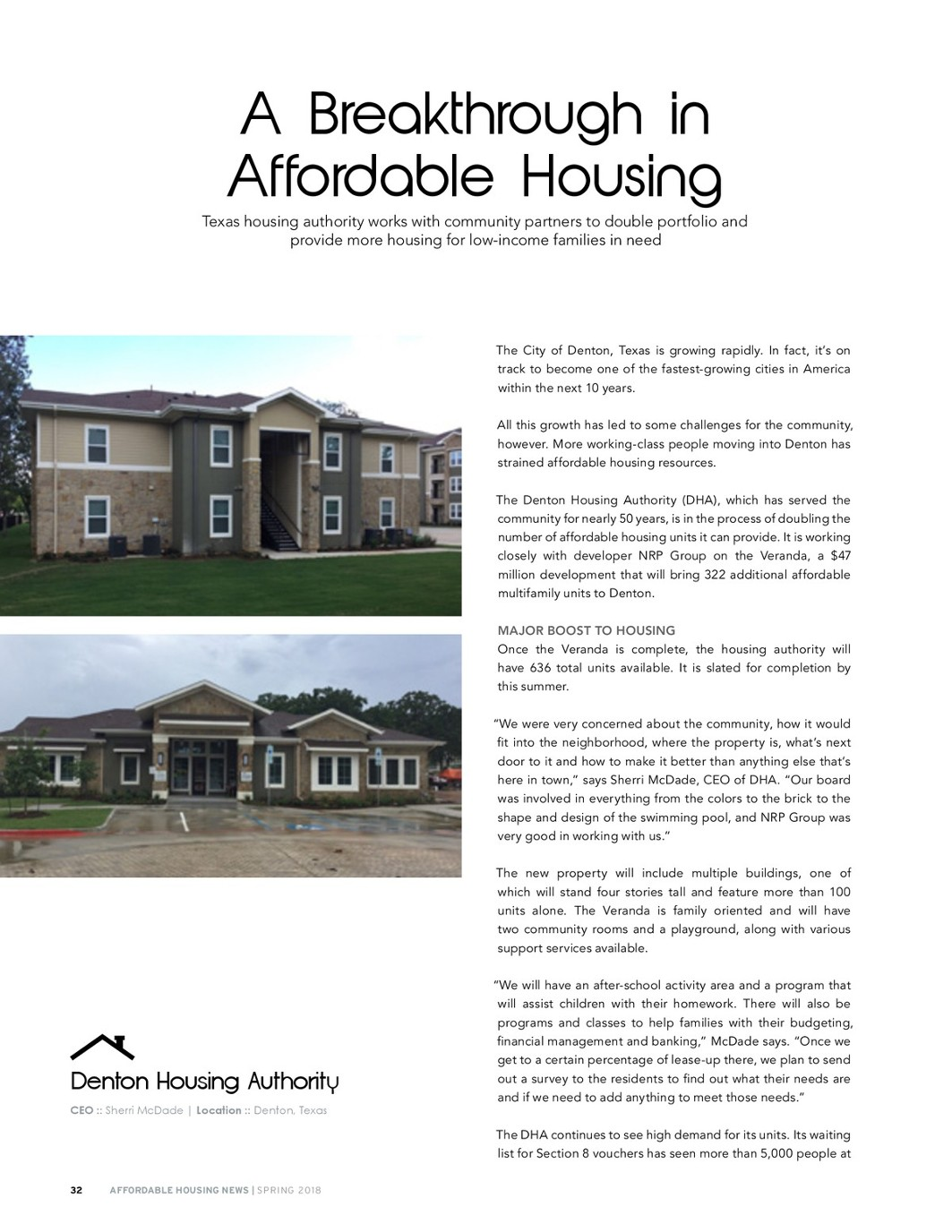 Affordable Housing News, Spring 2018 issue